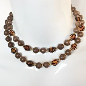 Vintage West Germany Brown Bead Choker Necklace
